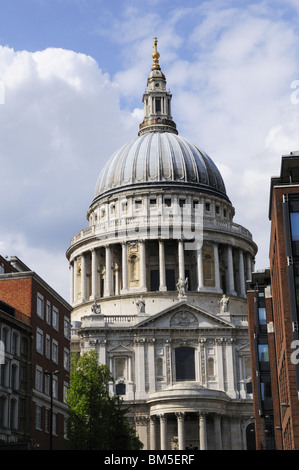 St Pauls Cathedral from Peter's Hill, London, England UK - Stock Photo