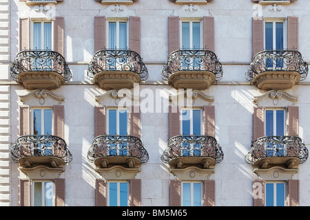 Building with beautiful balconies in Lugano, Switzerland - Stock Photo