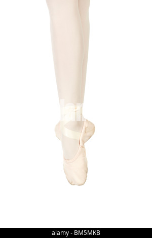 Young female ballet dancer showing various classic ballet feet positions on a white background - Soubresant. NOT - Stock Photo