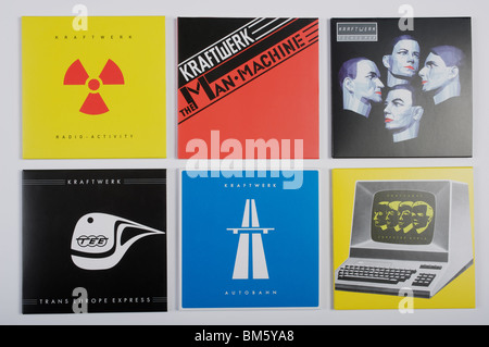 Selection of albums by German electronic pop group Kraftwerk - Stock Photo