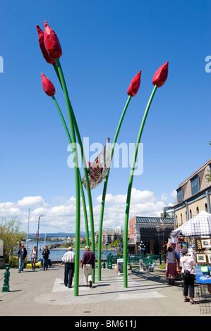 A sculpture in Bastion Square, Victoria, Vancouver Island, Canada - Stock Photo