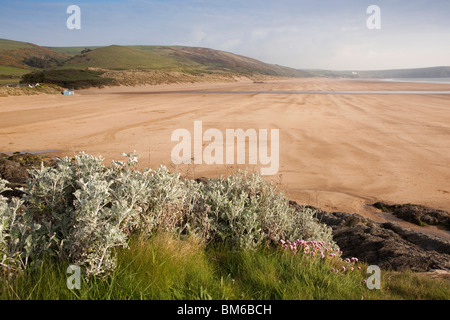UK, England, Devon, Woolacombe Sands Beach looking towards Putsborough - Stock Photo