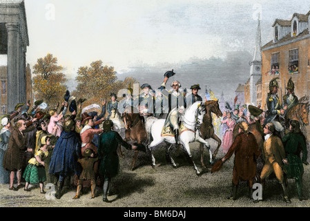 Triumphal entrance of Washington's American army into New York, November 25, 1783.  Hand-colored steel engraving - Stock Photo