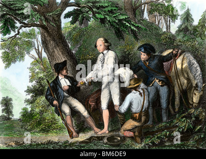 British agent Andre trying to bribe his captors with his watch to avoid discovery of Arnold's treason, 1780.  Hand - Stock Photo