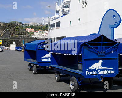Lobo Marinho Porto Santo Ferry moored in the harbour close to Fort Sao Jose Funchal Madeira Portugal EU Europe - Stock Photo