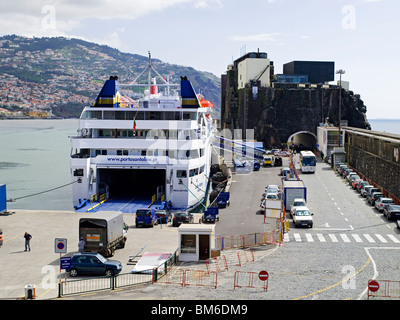 Lobo Marinho Porto Santo Ferry moored in the harbour Funchal Madeira Portugal EU Europe - Stock Photo