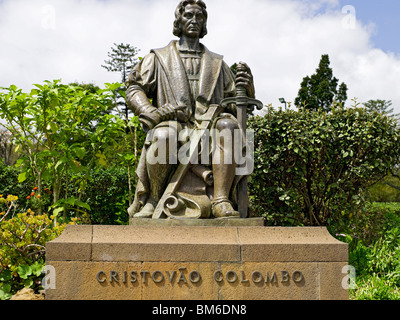 Statue of Christopher Columbus in Santa Catarina Park Funchal Madeira Portugal EU Europe - Stock Photo