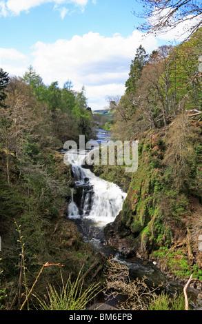 Reekie Linn falls downstream of the Bridge of Craigisla, Angus, Scotland, United Kingdom. - Stock Photo