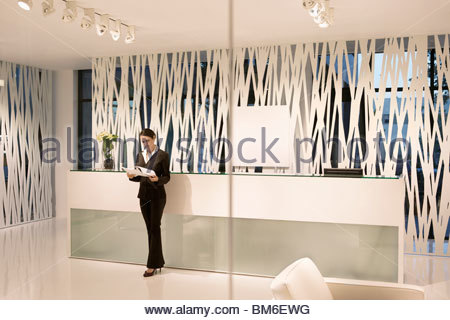 Reception desk in lobby of modern luxury accommodation building