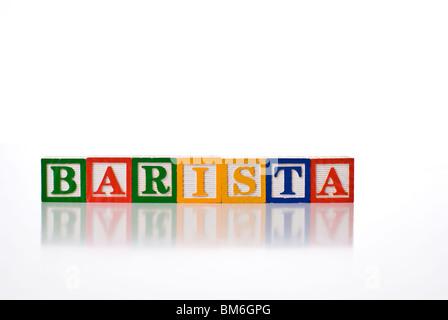 Colorful children's blocks spelling the word BARISTA - Stock Photo