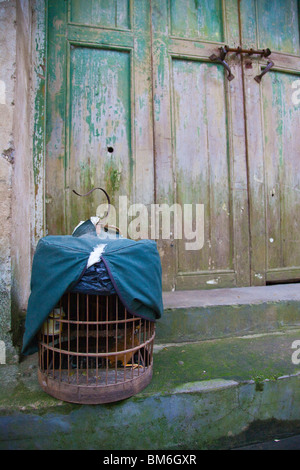 Birdcage in Fuli Town near Guilin and Yangshuo in Guangxi Province, China - Stock Photo