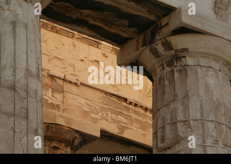 Frieze of the Parthenon in the Acropolis of Athens in Greece. - Stock Photo