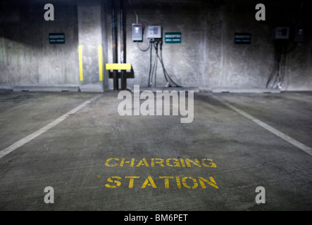An electric car charging station.  - Stock Photo