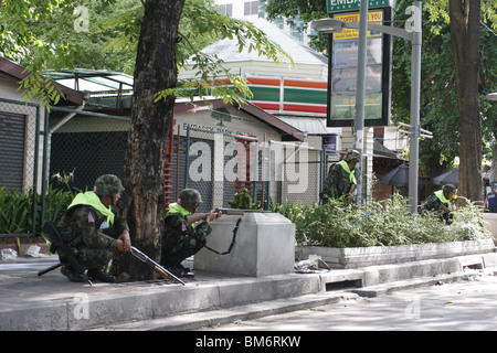 On May 19th, the demonstration by the Red Shirts, an anti government movement in Thailand, was ended by a military - Stock Photo