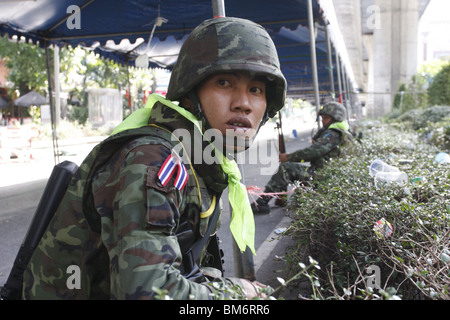A Thai soldier during the assault on Rajaprasong on May 19th. - Stock Photo