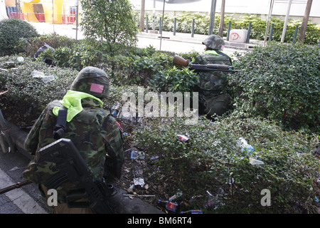 Thai soldiers during the assault on Rajaprasong on May 19th. - Stock Photo