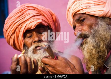 Naga Sadhu during the Kumbh mela, Haridwar,India - Stock Photo