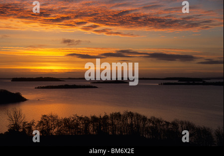 Dawn breaks over Lough Corrib in County Galway, Ireland - Stock Photo