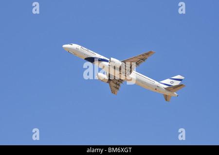 Israel, Ben-Gurion international Airport El-Al Boeing 757 passenger jet ready for takeoff - Stock Photo