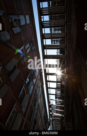 Fire Escape in Cortlandt Alley, Tribeca, New York City - Stock Photo