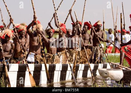 Paddlers in Kuomboka ceremony in Zambia - Stock Photo