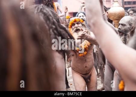 Naga Sadus during the Haridwar Kumbh mela 2010. India. - Stock Photo