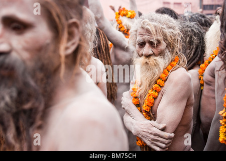 Naga Sadus during the Haridwar Kumbh mela 2010. India - Stock Photo