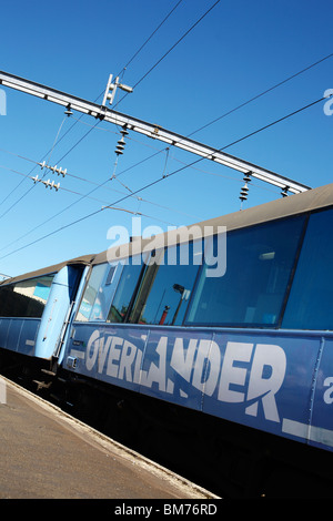 The Tranz Scenic Overlander train between Auckland and Wellington in New Zealand - Stock Photo