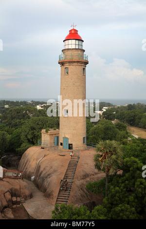 The lighthouse at Mahabalipuram or Mamallapuram Tamil Nadu state in India. - Stock Photo