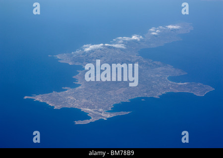 The Dodecanese island of Karpathos in the Aegean Sea, as seen from high altitude - Stock Photo
