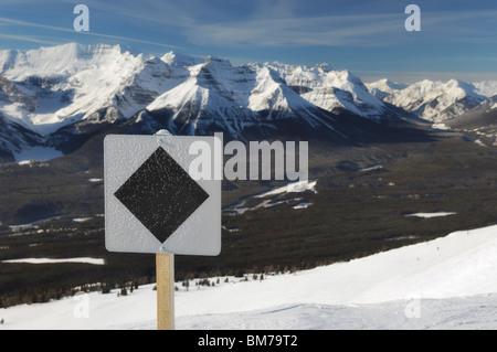 Black diamond run at Lake Louise Ski Resort - Banff National Park, Alberta, Canada - Stock Photo