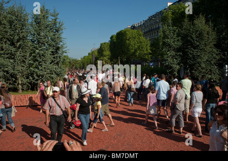 Paris, France, Crowd of Tourists, Visiting Avenue Champs-Elysees, French Farmers Giant Garden, 'Nature Capitale' - Stock Photo