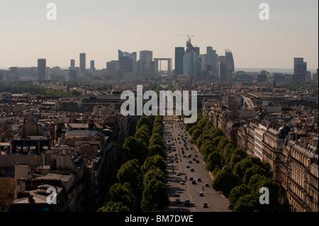 Skyline Paris, France, Cityscape, View from Arc de Triomphe, Looking West to La Defense Business Center, - Stock Photo