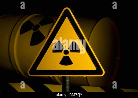 A Radioactive Warning Sign - Stock Photo