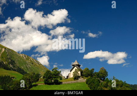Switzerland:  In the canton of Vaud, Chateau-d'Oex, district of Pays-d'Enhaut, the Reformed Church of Saint-Donat - Stock Photo