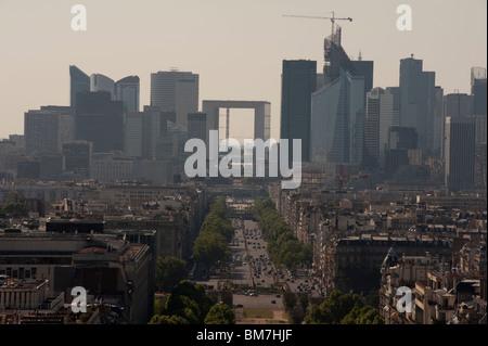 Skyline Paris, France, Cityscape, (View from Arc de Triomphe), Looking West to La Defense Business Center, - Stock Photo