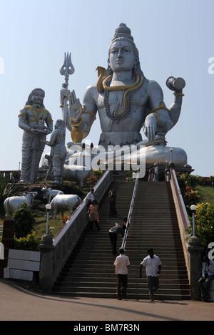The worlds largest statue of Hindu God, Lord Shiva located in Murudeshwara or Murudeshwar in Karnataka, India. - Stock Photo
