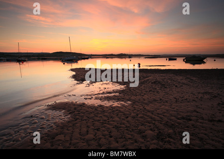 Dusk on River Exe Estuary, view towards Starcross, Devon, England, UK - Stock Photo