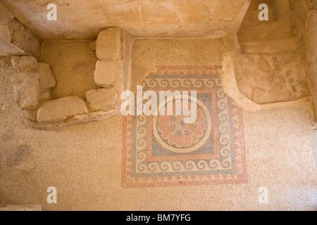 Western Palace Mosaics on floor at Masada - Israel - Stock Photo