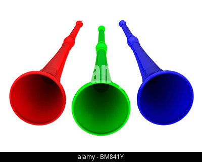 Vuvuzela horns in red green and blue on white background - Stock Photo