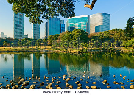 Hama Rikyu Gardens Garden Shiodome Japan - Stock Photo
