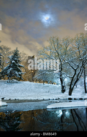 Full moon over the Pond in the south end of New York City's Central Park at night after a snowstorm - Stock Photo