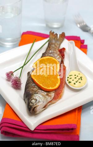 Stuffed  trout with ham and orange. Step by step: PGGJDF-PGGJDK-PGGJDR-PGGJDT - Stock Photo