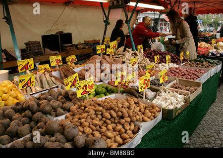Vegetables at the Turkish market at Maybachufer in eastern Kreuzberg, Berlin, Germany - Stock Photo
