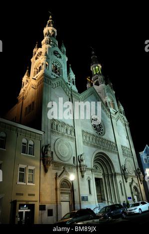 Saints Peter and Paul Cathedral at night. San Francisco, California, USA. - Stock Photo
