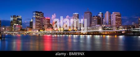 Brisbane city panorama by night - Stock Photo