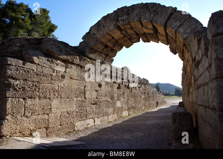 The entrance to the Stadium, Olympia, late 3rd century BC, the vaulted athletes entrance is 32 meters long. - Stock Photo