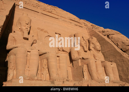 The Temple of 19th dynasty Egyptian Pharaoh Ramesses II at Abu Simbel, Egypt - Stock Photo
