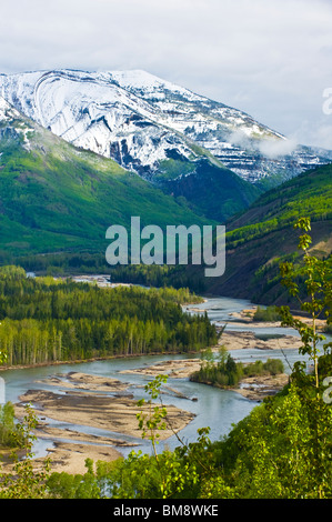 Smokey river and Mount Hamel - Stock Photo