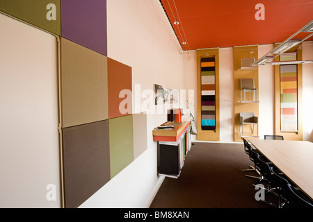 Fabric coating plant, recyclable composite textile weaving mill, show room - Stock Photo